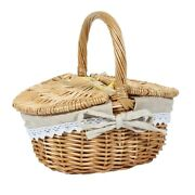 10xhandmade Wicker Basket With Handle Wicker Camping Picnic Basket With Double