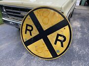 """Antique Vintage 48"""" Round Metal Railroad Crossing Sign Heavy Steel Train Large"""