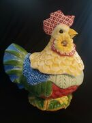 Fitz And Floyd Just Us Chicks Rooster / Hen Cookie Jar / Cannister 10 1/2