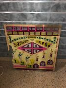 1941 Chicago Coin Show Boat Pinball Machine Back Glass Worn But Restorable