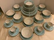 Castleton China Turquoise Service For 4 Total 44 Pcs Dinner Salad Berry Bowls