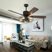 Low Price52 Wire Cage Ceiling Fan Steampunk Farmhouse Led Light Living Room