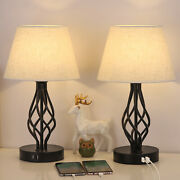 Set Of 2 Traditional Table Beside Lamps 2 Usb Charging Ports Drum Shade