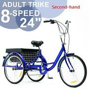 Secondhand 24 Inch Trike 8 Speed Adult Tricycle 3-wheel Blue Bike With Basket