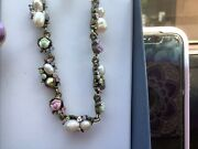 New With Tags Cookie Lee Antique Porcelain Rose Genuine Pearl Necklace