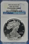 2015 W 1 Proof Silver Eagle First Releases Ngc Pf69 Ultra Cameo Blue Label035