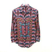 Tolani Womens Small Silk Button Up Shirt Top Blouse Multicolor Long Sleeve Print