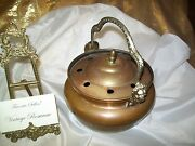 Antique Copper And Metal Humidifier Steamer Pot W Handle And Lid And Lions Each Side