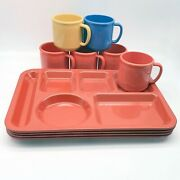 Vintage Melamine Cafeteria School Lunch Divided Trays 4 And Mugs Cups 6 Set
