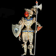 Urie Mandle Sterling Medieval Knight In Armour With Buckler Shield And Axe Pin