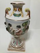 Capodimonte Porcelain Vase Urn With Cherubs And Gold Rim 8.5 Inch