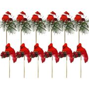 50x12 Pack Birds Attached To Wooden Stems/ Red Cardinals Birds Decor Christmas