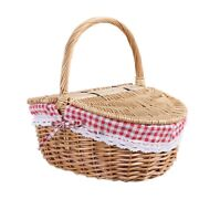 50xcountry Style Wicker Picnic Basket Hamper With Lid And Handle And Liners For