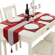 50x13x70in Table Runner And 4 Set Placemats With Sequined Rhinestone Table
