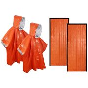 50xemergency Survival Sleeping Bag And Poncho Waterproof Thermal Blanket For