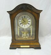 Bulova Quartz Wood Mantle Clock B1845t With Engraved Plaque And Chimes