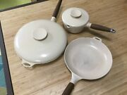 """Copco Michael Lax Set 12and10 Skillet Frying Pan With Lid Beige 7"""" Pot With Lid"""