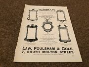Aabk11 Antiques Advert 11x8 Law Foulsham And Cole Old English Mirrors