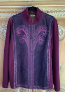 Bob Mackie Purple Suede And Knit Sweater Jacket W/embroidery Zip Front Size Xl Nwt
