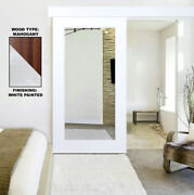 White Mirrored Solid Mahogany Wood Barn Door With Mirror Panel