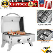 Foldable Burner Portable Stainless Steel Bbq Tabletop Propane Gas Grill Outdoor