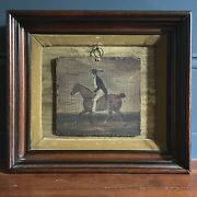 Early 20th C. Folk Art Horse And Rider Oil Painting In Velvet Shadowbox