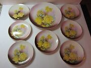 Vintage/antique Dresden China Plates 1 Lg And 7 Sm Yellow Rose Pattern-signed-old
