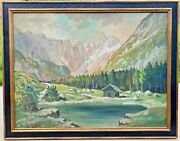 Large Vintage Signed Mountain Landscape Oil Painting Sierra Nevada California