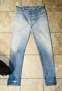 Vintage 80s 501 Womenandrsquos 29 Inseam 31andrdquo Light Wash High Rise Distressing