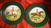 2 Fitz And Floyd Tallyho 9 1/8 Fox Hunting Plates 1 Brown And 1 White Horse Mint