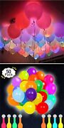 50 Pack Neon Led Balloons - Light Up Balloon Party Decorations Mix Color
