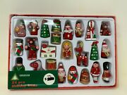 Vintage Woolworths 24 Hand Painted Wooden Holiday Trims Christmas Ornaments New