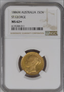 Best Price 1886 M Gold Australia Young Head St. George Sovereign Ngc Ms 62+