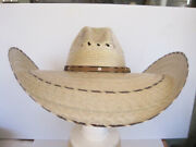Sunblocker Extra Wide Brim Mexican Palm Straw Hat Vented, Leather Band M-l Tan