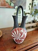 Native American Indian Artist Signed Gpr Pottery 14 Wedding Vase Acoma Nm Nice