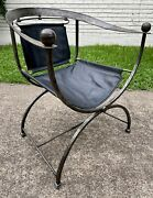 Vintage Italian Hollywood Regency Brass And Iron Director's Chair