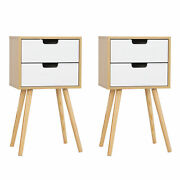 Set Of 2 Wooden Nightstands W/ Solid Legs End Table Sofa 2 Drawers For Bedroom