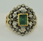 Early Victorian French 18k Emerald And Rose Cut Diamond Ring