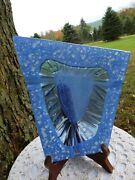 Michael And Frances Higgins Glass Blue Trapezoid Cigar Ashtray / Candy / Soap Dish