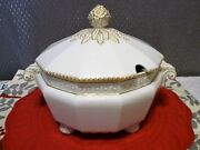 Nymphenburg Bavaria Germany Perl Pearl Gold Double Handle Covered Soup Tureen