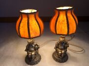 ⭐pair Of Very Rare Vintage Antique Table Lamps With Hand Made Benko Lamp Shades