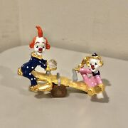 Spoontiques Pewter Painted Clowns On Seesaw Crystal K1468 Figurine Ct