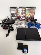 Sony Playstation 2 Ps2 Slim Scph-70012 + 2 Controllers, 3 Games And 2 Memory Cards