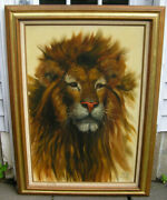 Lion Oil Painting On Canvas King Of The Jungle Animal Portrait Signed Tita Huge