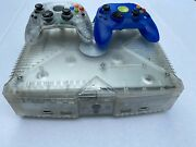 500gb Microsoft Xbox Crystal Limited Edition Console W/ 2 Controllers And Cables