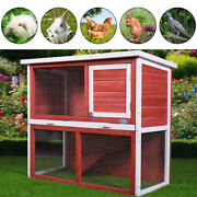 36 Wooden Chicken Coop Hen House Rabbit Wood Hutch Poultry Cage Removable Tray