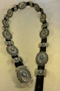 Signed Gary Reeves Navajo Concho Belt W/20 Gem Turquoise Sterling Silver Buckle