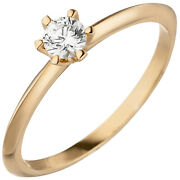 Womenand039s Ring 585 Gold Rose Gold 1 Diamond 025 Ct Solitaire Ring