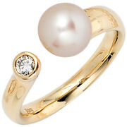 Womenand039s Ring 585 Yellow Gold 1 Freshwater Pearls 1 Diamond Pearl Ring