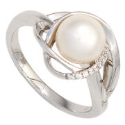 Womenand039s Ring 585 White Gold 1 Freshwater Pearls 9 Diamonds